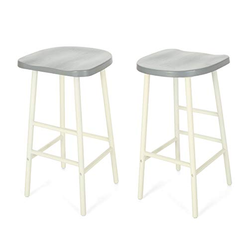 - Christopher Knight Home 307505 Jean Bar Stools, Pine Veneer, Iron Frame, Gray Seats with White Base (Set of 2),