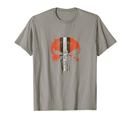 Football Helmet Skull Orange Brown & White T-Shirt