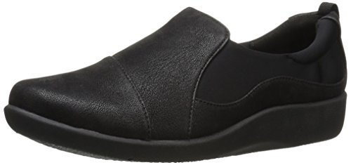 Clarks Women's CloudSteppers Sillian Paz Slip-On Loafer, Black Synthetic Nubuck, 8.5 W US (Best Dress Shoes For Feet With Bunions)