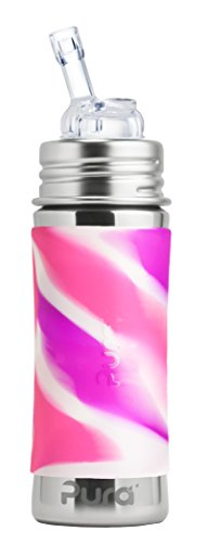 Pura Kiki 11 Oz / 325 Ml Stainless Steel Bottle With Silicone Straw & Sleeve, Pink Swirl (plastic Free, Nontoxic Certified, Bpa Free)