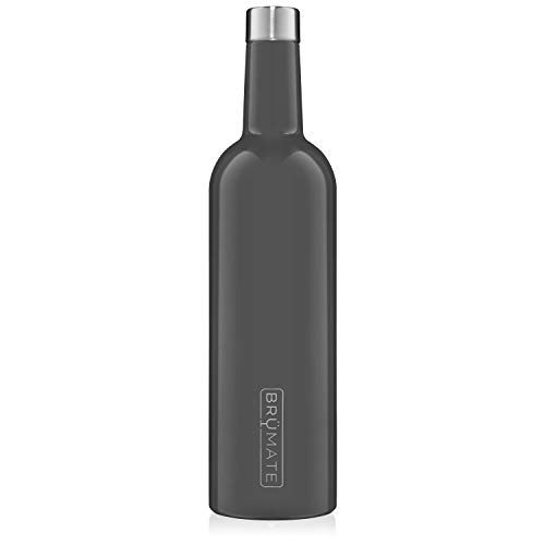 BrüMate Winesulator 25 Oz Triple-Walled Insulated Wine Canteen Made Of Stainless Steel, 24-hour Temperature Retention, Shatterproof, Comes With Matching Silicone Funnel (Charcoal)
