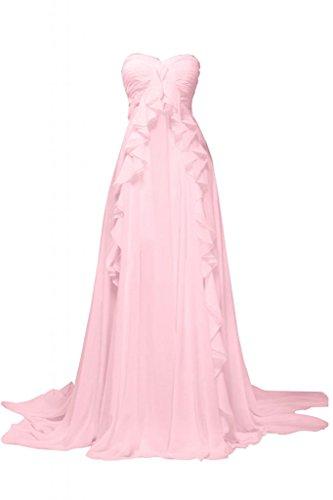 Sunvary lungo Sweetheart con linea da treno Chiffon abito Pink elegante sera rHR0Twqrx