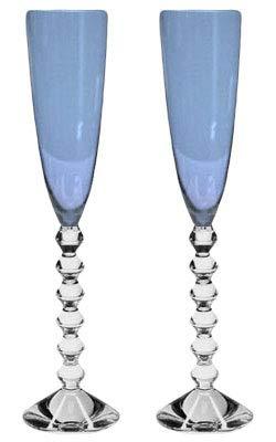 Baccarat Crystal Vega Flutissimo Flute - Blue- Set of 2 (Flute Champagne Baccarat Vega)