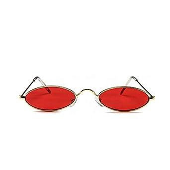 00baa4fa1 نظارات شمسية بيضاوية عتيقة بإطار معدني صغير مصمم نظارات Gothic لون أحمر