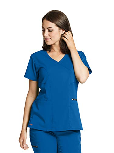 - Grey's Anatomy GRST001 Kim Surplice Scrub Top - Spandex Stretch New Royal L