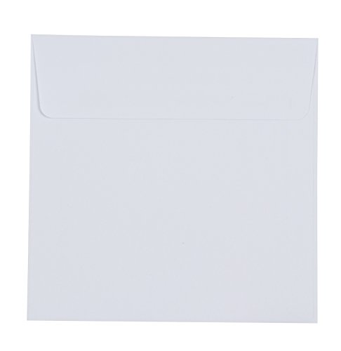 Square White Envelopes - 50-Pack Bright White Square Flap Envelopes, for Invitations, Announcements, Photos, Weddings, Engagement Parties, Special Events 5.5 x 5.5 Inches, 120GSM Paper