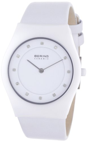 BERING Time 32035-659 Women's Ceramic Collection Watch with Leather Band and scratch resistant sapphire crystal. Designed in Denmark.