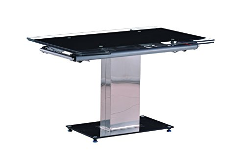 (Milan Dt Annie Black Glass Extendable Dining)