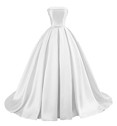 Dymaisei Women's Strapless Ball Gown Prom Party Dresses 2019 Long Formal Dresses US8 White