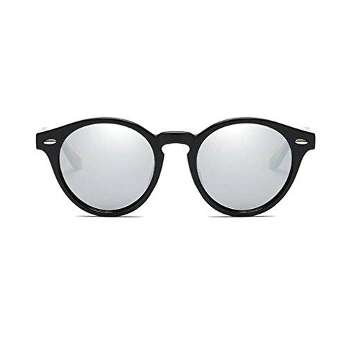 sol gafas lentes PC de de forma Hombres UV400 Ronda Gafas de Coolsir Mujeres en las polarizadas 3 de unisex protección Marco retro conducción qw0WX1z