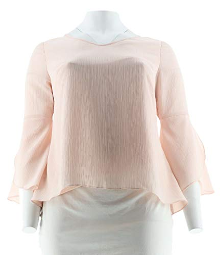 (H Halston Textured Georgette Top Tulip Bell SLVS Pearl Blush 24W New A305353)