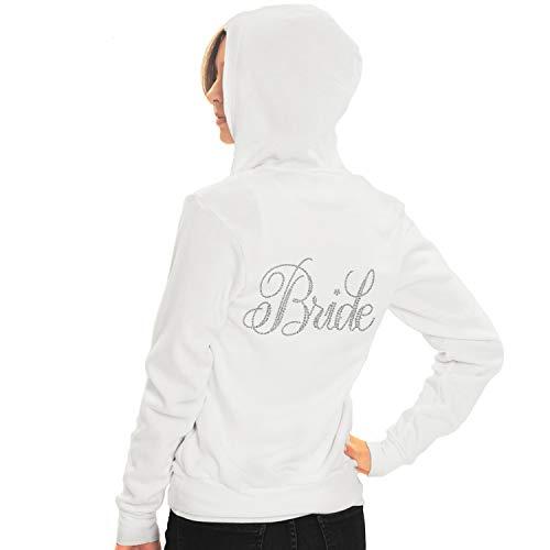 - Bachelorette White Bride Hoodie - Flirty Bride Rhinestone Light Weight Hoodie - Spa Bridal Shower, Bachelorette Party - Large - White Hood(FlrtyBrd RS) Wht/Lrg
