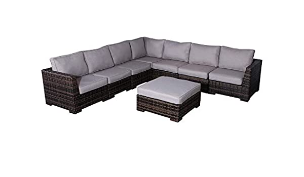 No Assembly Required CM-4118 Cabana Collection Outdoor Wicker Patio Furniture Sectional Conversation Sofa Set For Backyard Porch or Pool Fully Assembled 7 Piece Modular Coversation Set, Brown