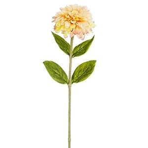 """Artificial Zinnia Flower in Peach Pink - 29"""" Tall - Set of 2 12"""
