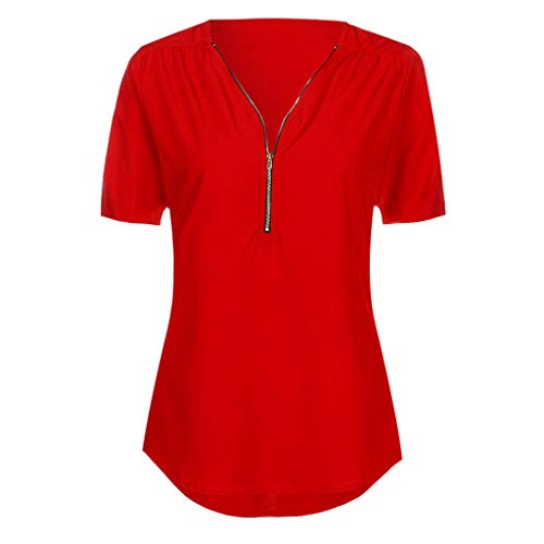 - TUSANG Womens Shirt Casual Tops Shirt Ladies V Neck Zipper Loose T-Shirt Blouse Tee Top Slim Fit Comfy Tunic(Red,US-14/CN-3XL)