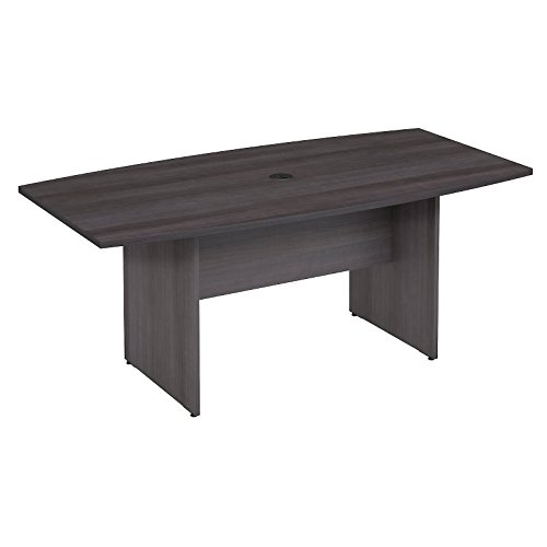 - Bush Business Furniture 72W x 36D Boat Shaped Conference Table with Wood Base in Storm Gray