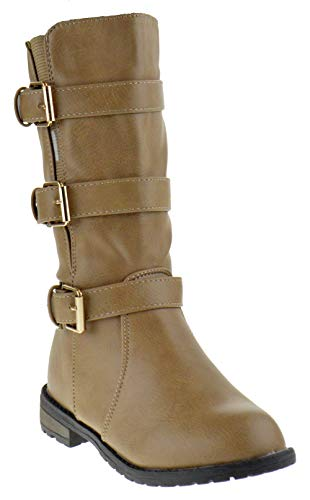 (CC Mango 28K Little Girls Knee High Riding Boots Taupe 1)