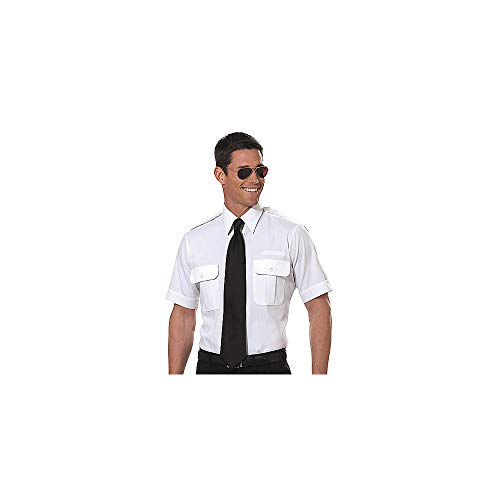 Van Heusen Mens Pilot Shirt - White- Short Sleeve - 17