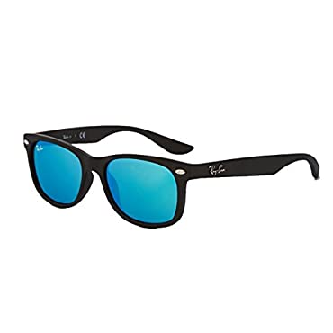 Ray-Ban RB2132 New Wayfarer Sunglasses Unisex (Matte Black Frame Blue Mirror Lens, 55)