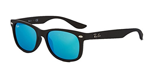 Ray-Ban RB2132 New Wayfarer Sunglasses Unisex (Matte Black Frame Blue Mirror Lens, - Ray Blue Ban Mirror Lens