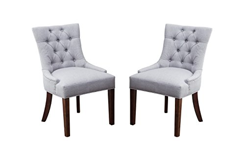 Chrome Fabric Chair - Fabric Dining Chair Upholstered Leisure Padded Chair with Armrest Per-Home, Nailed Trim, Accent Dining Chairs Set of 2 (Gray)