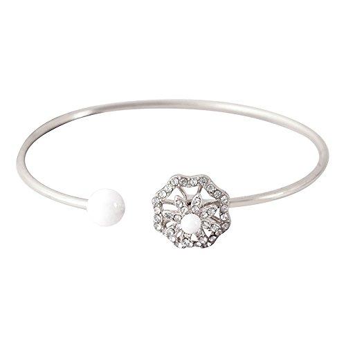 Egmy BraceletPearl Openwork Flower Diamond Fine Circle Bangle Bracele (B)