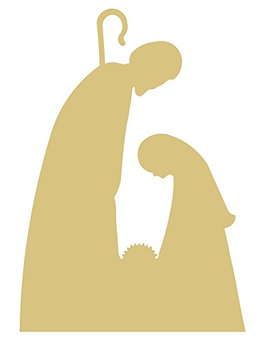 Nativity Scene Cutout Unfinished Wood Holiday Cut out Christmas Door Hanger MDF Shape Canvas Style 2 for $<!--$32.00-->