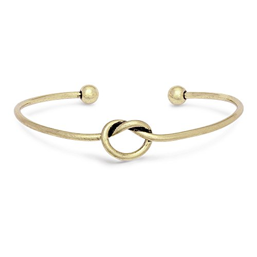 Antique Gold Bangles - SENFAI Love Knot Bangle Bracelet Simple Knot Bangle Cuffs Women Stretch Bracelet Gold Silver Knot Bangles(Antique Bracelet GQT)