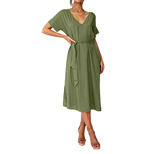 (iPOGP Summer Women's Fashion Pure Colour V-Neck Simple Short Sleeve Long Maxi Dresses Girl 2019(Army Green,L) )