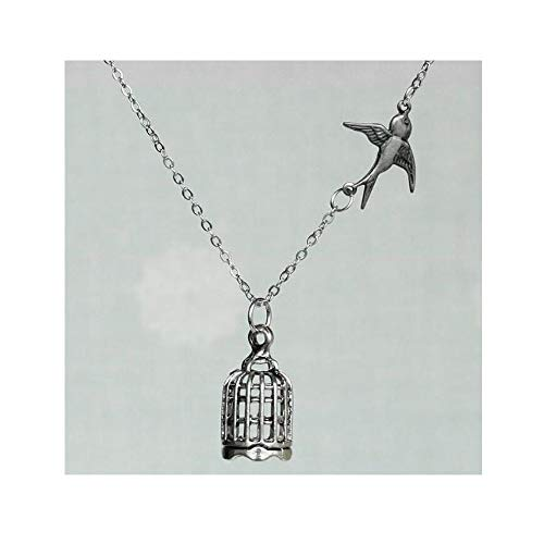 Sale-Silver Bird and Bird Cage Necklace,Be Free,Sparrow,Freedom,Divorce,Graduation,Love,Anniversary,Engagement,Handmade Jewelry -