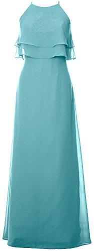 Party Chiffon Formal Gown Long Dress Turquoise Wedding Macloth Elegant Tiered Bridesmaid q0xwX8Z