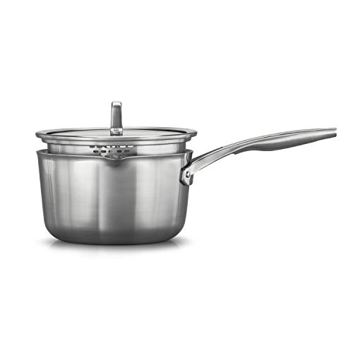 Calphalon 2029635 Premier Stainless Steel 3.5-Quart Pour and Strain Saucepan with Cover, Silver