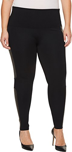 SPANX Plus Size Faux Leather Panel Ponte Leggings, 1X, Very Black