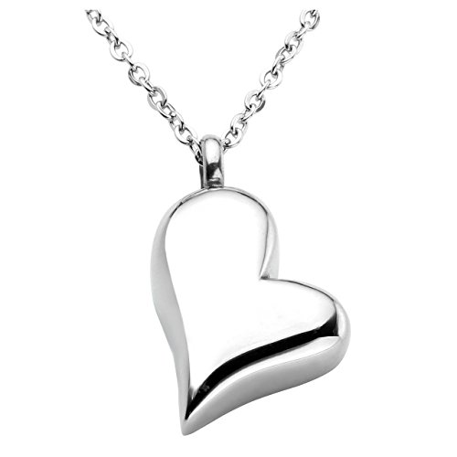 JOVIVI Free Engraving - Personalized Custom Stainless Steel Twist Heart Urn Pendant Necklace Cremation Jewelry Ashes Keepsake Memorial with Filler Kit and Gift Box