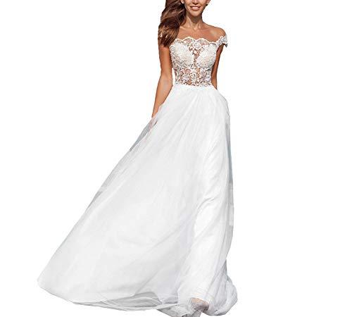 YIPEISHA Women's Wedding Dress for Bridal Scoop Neck Sleeveless Applique Beach Bridal Dresses 10 White