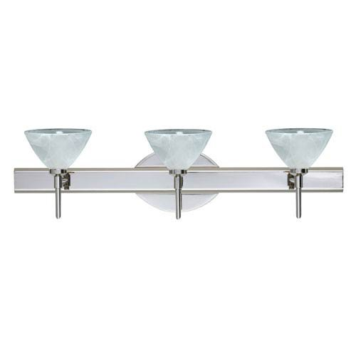 Besa Lighting 3SW-174352-CR 3X40W G9 Domi Wall Sconce with Marble Glass, Chrome Finish - Domi Three Light