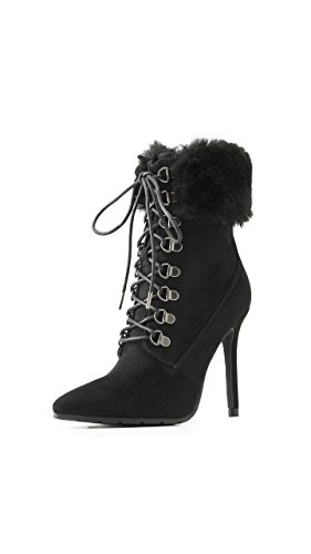 Charlotte Russe Faux Fur-Trim Lace-Up Dress Booties