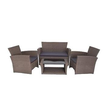 Conjunto de sofá con sillones y mesa baja de ratán sintético ...