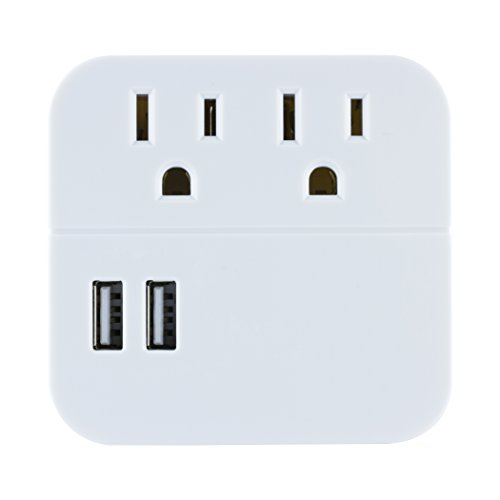 GE 2 Outlet 2 USB Surge Protector Wall Tap, Charging Station, Wall Plug Adapter, Dual USB Tablet and Cell Phone Charger, 120V/15A/180WW, 280 Joules, UL Listed, White, 37144 ()