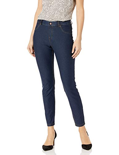 HUE Women's Plus Size Essential Denim Leggings, Deep Indigo Wash, 2X