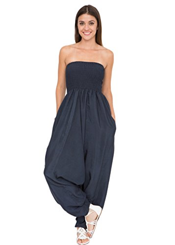 likemary Harem Jumpsuit and Hareem Pants Convertible 2 in 1 Silk Look Bandeau Romper Midnight -