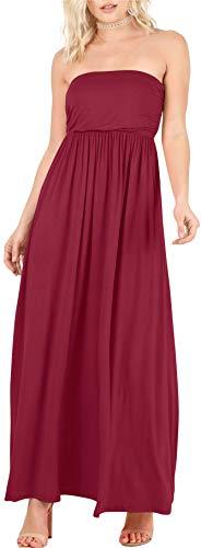 - Long Burgundy Dresses for Women Strapless Beach Dress Off Shoulder Party Dress Empire Waist Dress Burgundy Maxi Dress (Size XX-Large US 10-12, Burgundy)