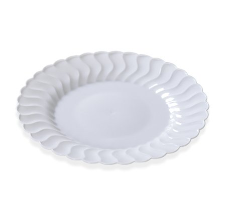 Fineline Settings 206-WH, 6-Inch Flairware White Plastic Dessert Plates, Party Catering Disposable Salad Dessert Round Dinner Plates (100) by Fineline settings