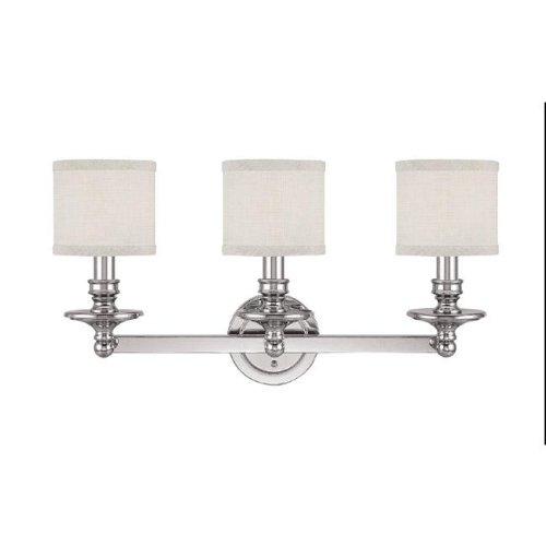 Capital Lighting 1238PN-451 Vanity with White Fabric Shades, Polished Nickel Finish