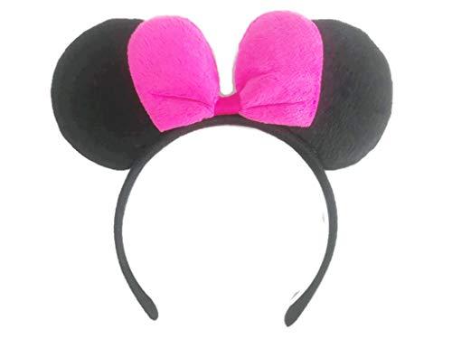 MeeTHan Pink Bow Black Minnie Mouse Ears Headband :M4 (Dark Pink)]()