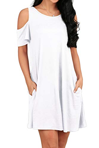 OFEEFAN Women's Summer Cold Shoulder Tshirt Swing Dress Tunic Tops White S