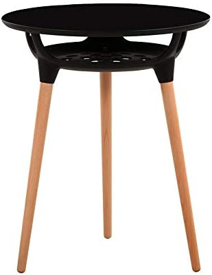 GWDJ サイドテーブル、2層のラウンドテーブル、カジュアルな木製のダイニングテーブル、カフェのテーブル、デスクの交渉、バルコニーコーヒーテーブル、黒/白、正方形のテーブル、60/80 cm コーナーテーブル (色 : 黒, サイズ さいず : 80cm-square)