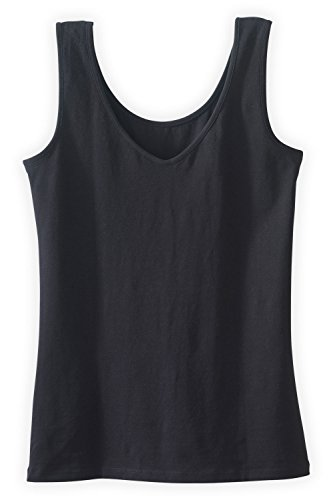 Pima Cotton Tank Top (Fair Indigo Fair Trade Organic Reversible Neck Tank (XL, Black))