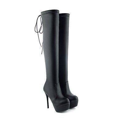 RTRY Zapatos de mujer polipiel moda otoño invierno botas botas Stiletto talón puntera redonda Lace-Up Thigh-High botas por parte &Amp; traje de noche US5 / EU35 / UK3 / CN34