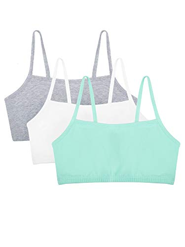 Fruit of the Loom womens Cotton Pullover Sport Bra, mint chip/white/grey heather 38